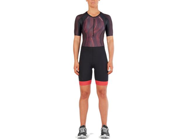 2XU Compression Strój triathlonowy Kobiety, black/vertical curve watermelon